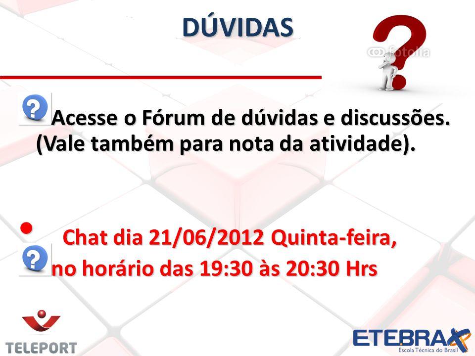 DÚVIDAS Acesse o Fórum de dúvidas e discussões. (Vale também para nota da atividade). Chat dia 21/06/2012 Quinta-feira, Chat dia 21/06/2012 Quinta-fei