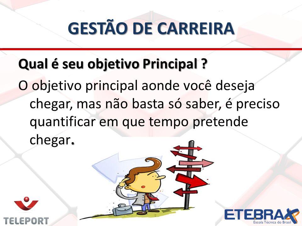 GESTÃO DE CARREIRA Qual é seu objetivo Principal ?.