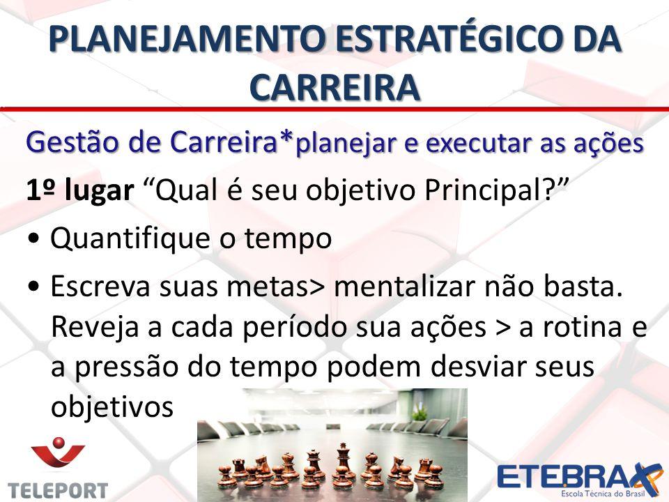 PLANEJAMENTO ESTRATÉGICO DA CARREIRA Gestão de Carreira* planejar e executar as ações 1º lugar Qual é seu objetivo Principal.