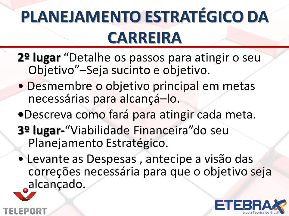 PLANEJAMENTO ESTRATÉGICO DA CARREIRA 2º lugar 2º lugar Detalhe os passos para atingir o seu Objetivo–Seja sucinto e objetivo.