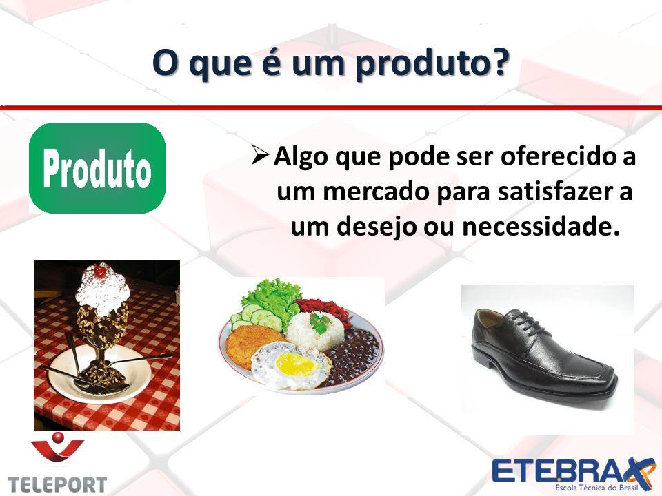 O que é um produto? Algo que pode ser oferecido a um mercado para satisfazer a um desejo ou necessidade.