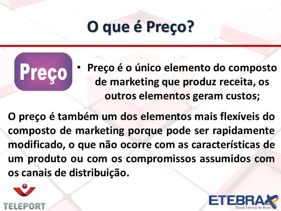 O que é Preço? Preço é o único elemento do composto de marketing que produz receita, os outros elementos geram custos; O preço é também um dos element