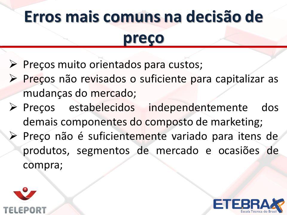 Erros mais comuns na decisão de preço Preços muito orientados para custos; Preços não revisados o suficiente para capitalizar as mudanças do mercado;