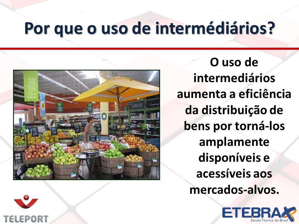 Por que o uso de intermédiários? O uso de intermediários aumenta a eficiência da distribuição de bens por torná-los amplamente disponíveis e acessívei