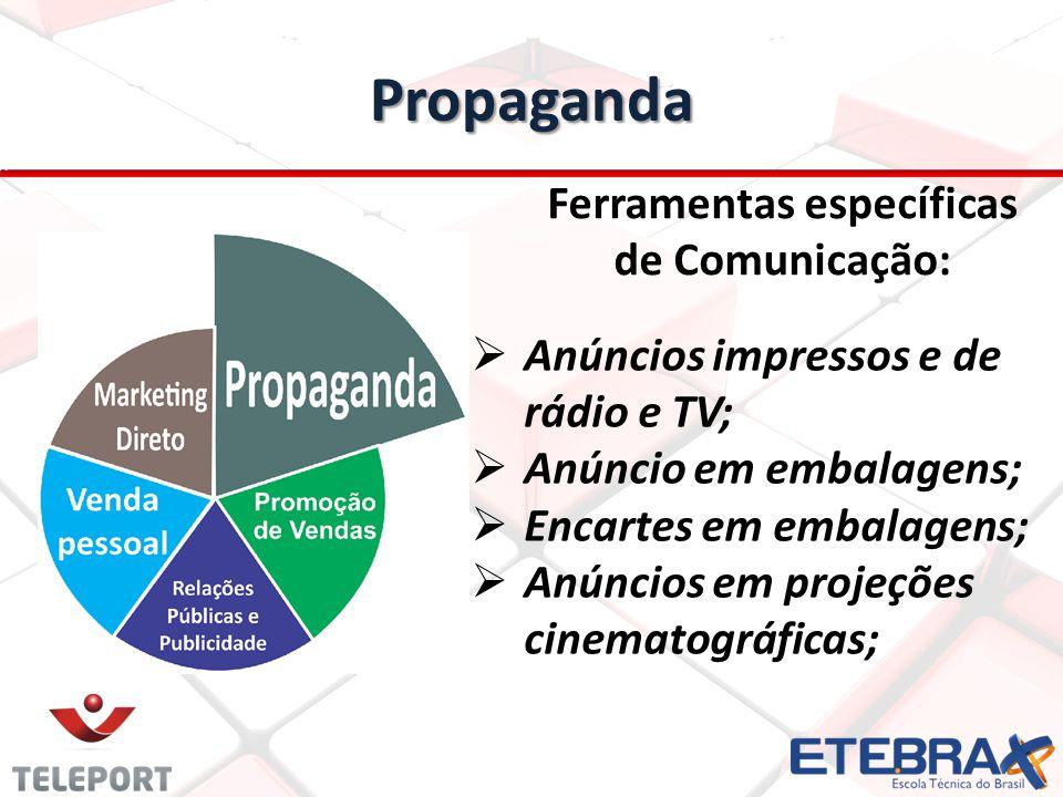 Propaganda Ferramentas específicas de Comunicação: Anúncios impressos e de rádio e TV; Anúncio em embalagens; Encartes em embalagens; Anúncios em proj