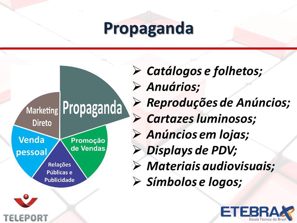 Propaganda Catálogos e folhetos; Anuários; Reproduções de Anúncios; Cartazes luminosos; Anúncios em lojas; Displays de PDV; Materiais audiovisuais; Sí