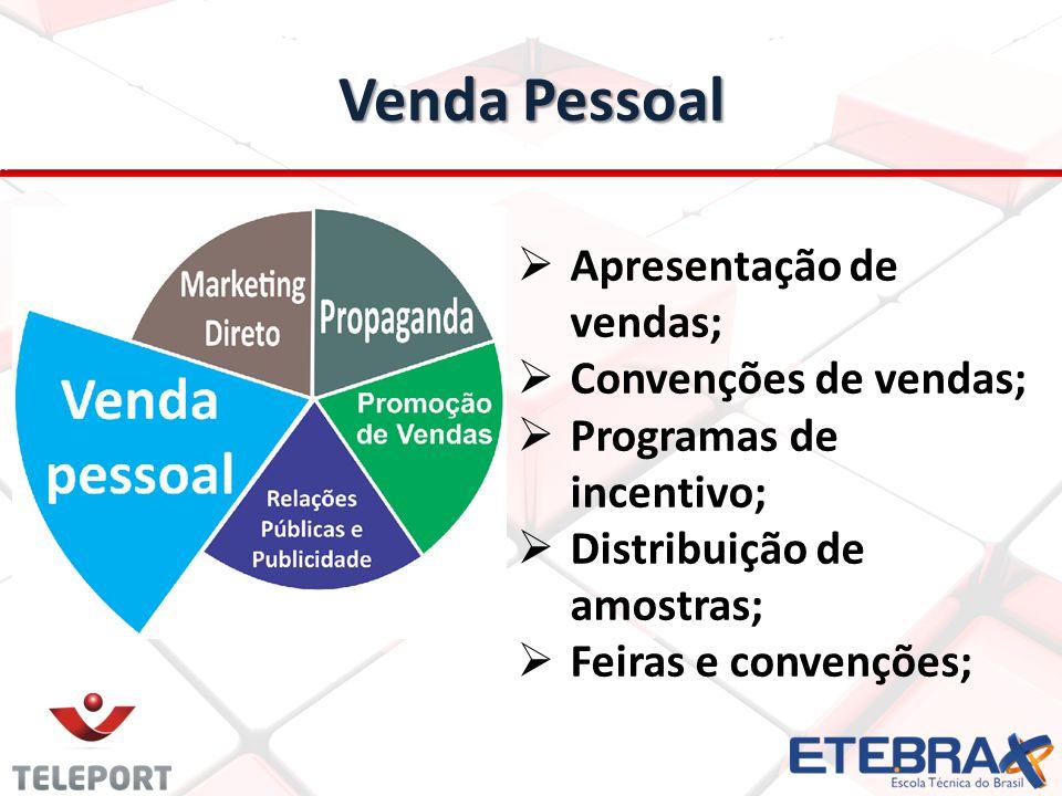 Venda Pessoal Apresentação de vendas; Convenções de vendas; Programas de incentivo; Distribuição de amostras; Feiras e convenções;