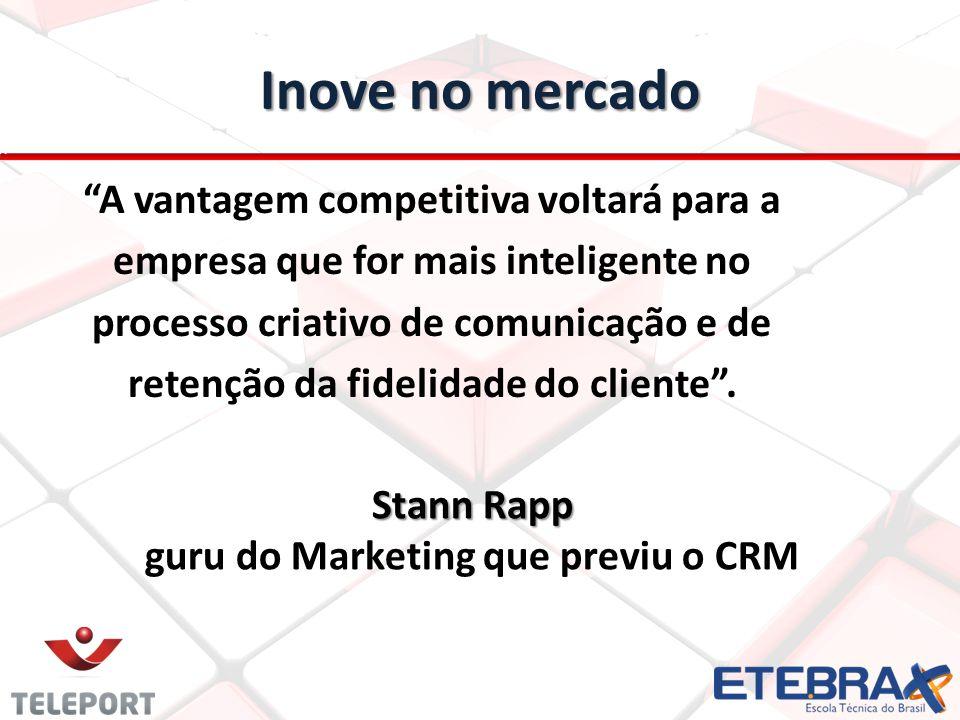 Inove no mercado A vantagem competitiva voltará para a empresa que for mais inteligente no processo criativo de comunicação e de retenção da fidelidad