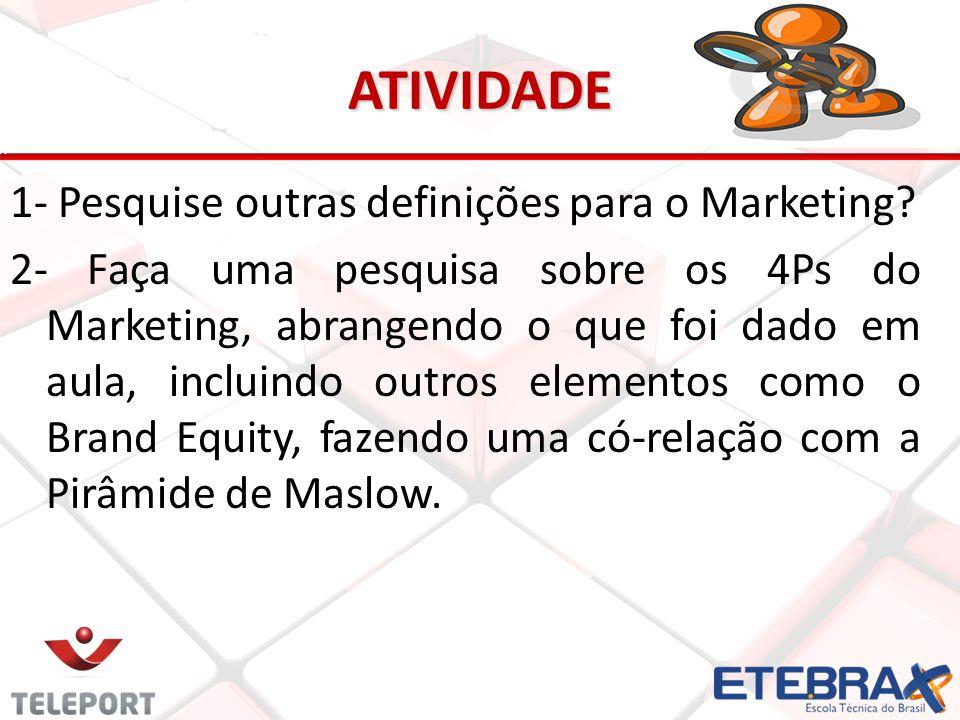 ATIVIDADE 1- Pesquise outras definições para o Marketing? 2- Faça uma pesquisa sobre os 4Ps do Marketing, abrangendo o que foi dado em aula, incluindo