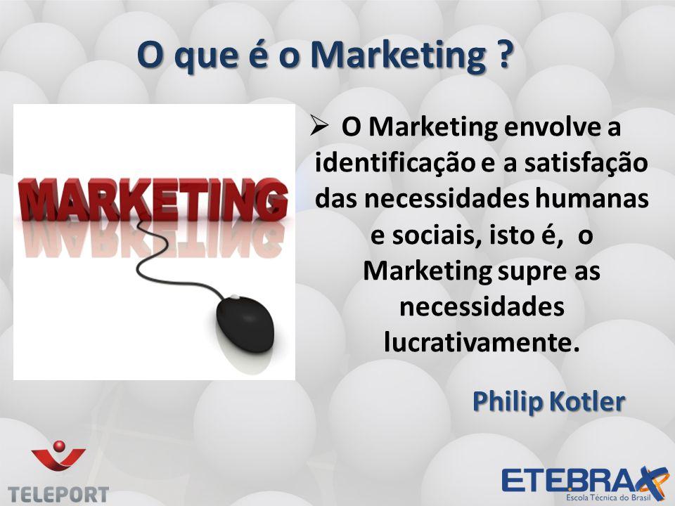 O que é o Marketing ? O Marketing envolve a identificação e a satisfação das necessidades humanas e sociais, isto é, o Marketing supre as necessidades