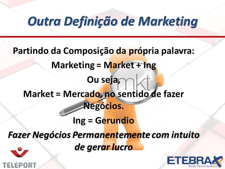 Outra Definição de Marketing Outra Definição de Marketing Partindo da Composição da própria palavra: Marketing = Market + Ing Ou seja, Market = Mercad