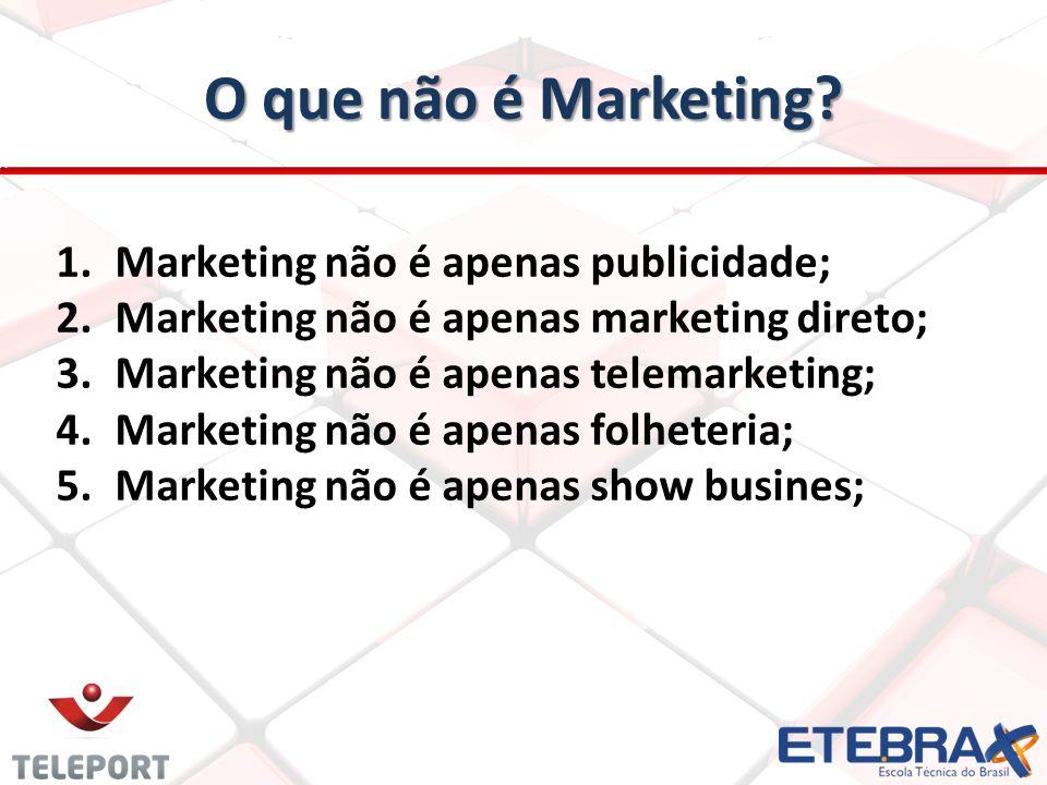 O que não é Marketing? 1.Marketing não é apenas publicidade; 2.Marketing não é apenas marketing direto; 3.Marketing não é apenas telemarketing; 4.Mark