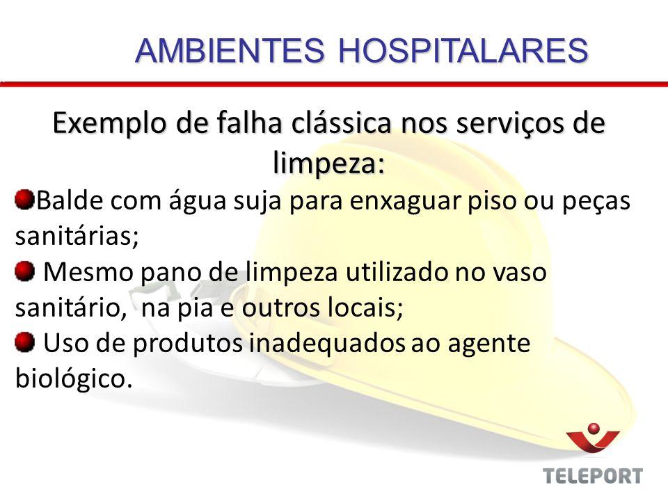 AMBIENTES HOSPITALARES Exemplo de falha clássica nos serviços de limpeza: Balde com água suja para enxaguar piso ou peças sanitárias; Mesmo pano de li