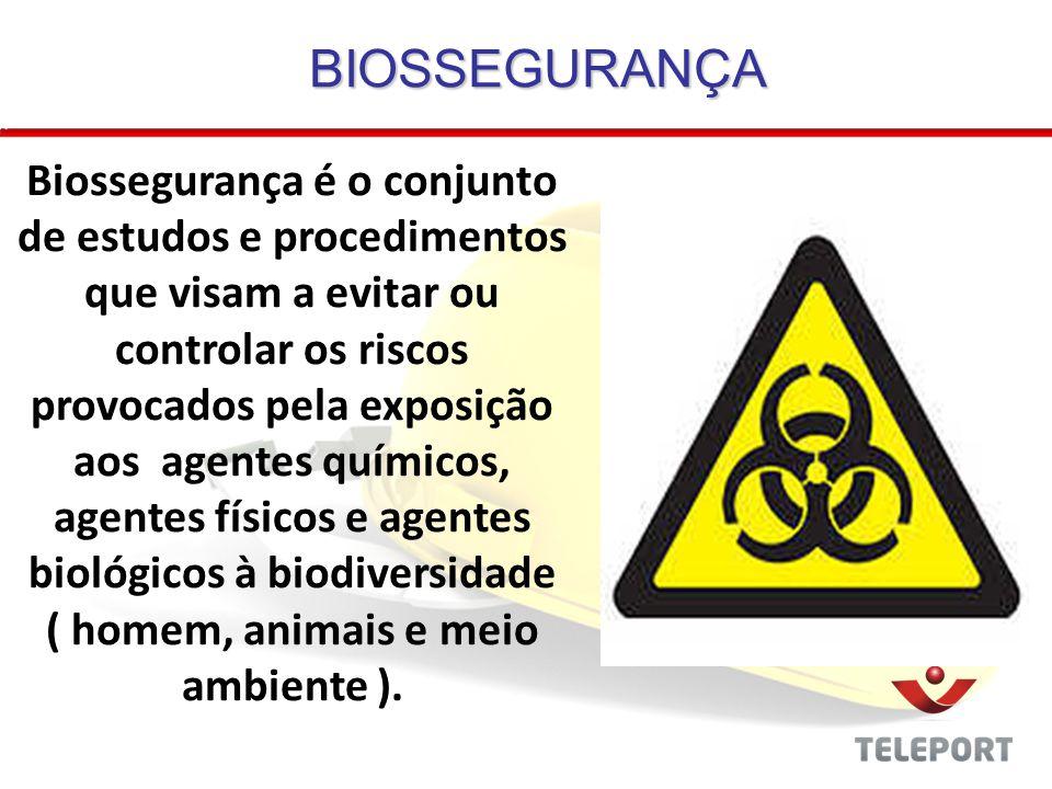 BIOSSEGURANÇA Biossegurança é o conjunto de estudos e procedimentos que visam a evitar ou controlar os riscos provocados pela exposição aos agentes qu