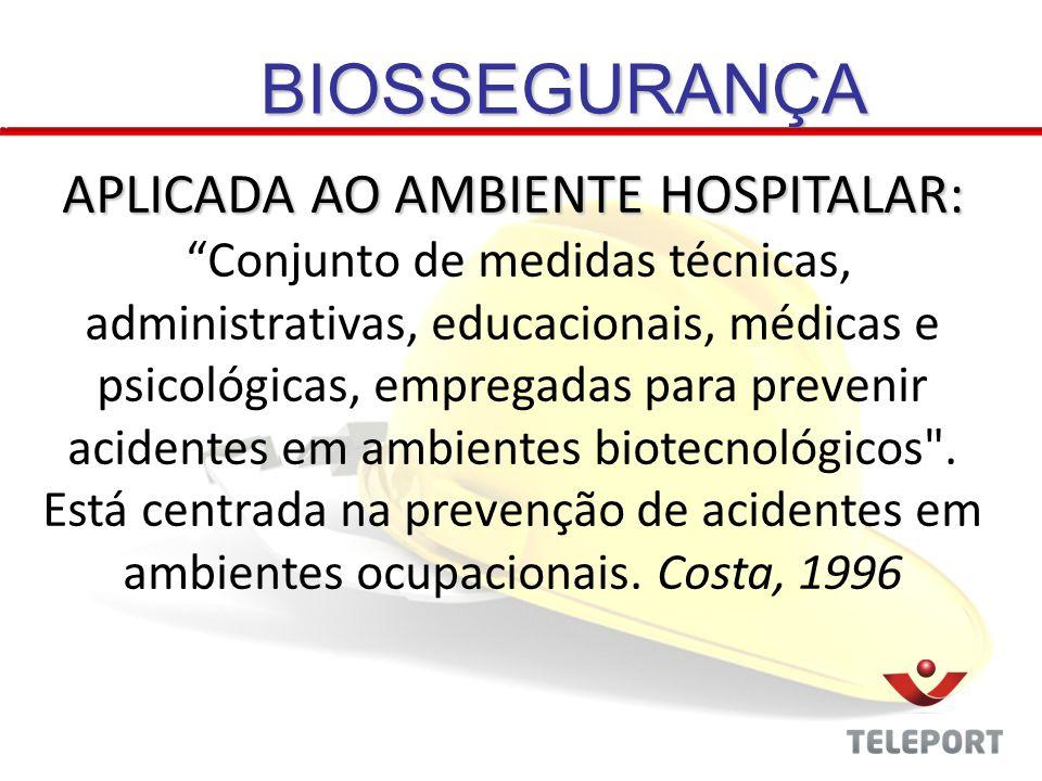 BIOSSEGURANÇA APLICADA AO AMBIENTE HOSPITALAR: Conjunto de medidas técnicas, administrativas, educacionais, médicas e psicológicas, empregadas para pr