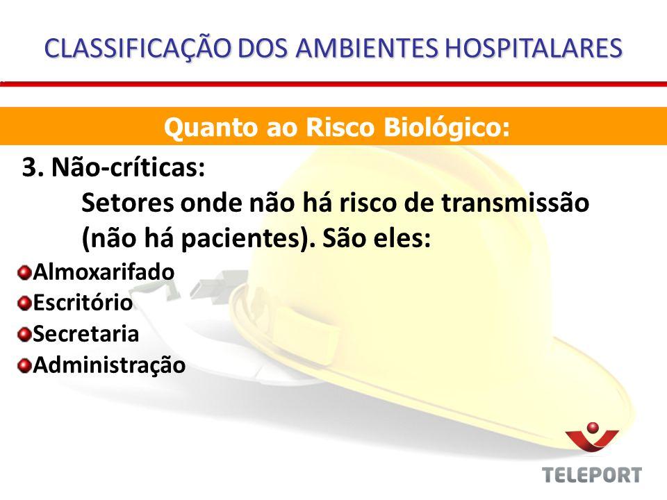 CLASSIFICAÇÃO DOS AMBIENTES HOSPITALARES 3. Não-críticas: Setores onde não há risco de transmissão (não há pacientes). São eles: Almoxarifado Escritór