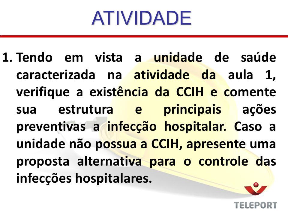 ATIVIDADE 1.Tendo em vista a unidade de saúde caracterizada na atividade da aula 1, verifique a existência da CCIH e comente sua estrutura e principai