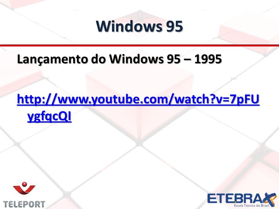 Windows 95 Lançamento do Windows 95 – 1995 http://www.youtube.com/watch?v=7pFU ygfqcQI http://www.youtube.com/watch?v=7pFU ygfqcQI