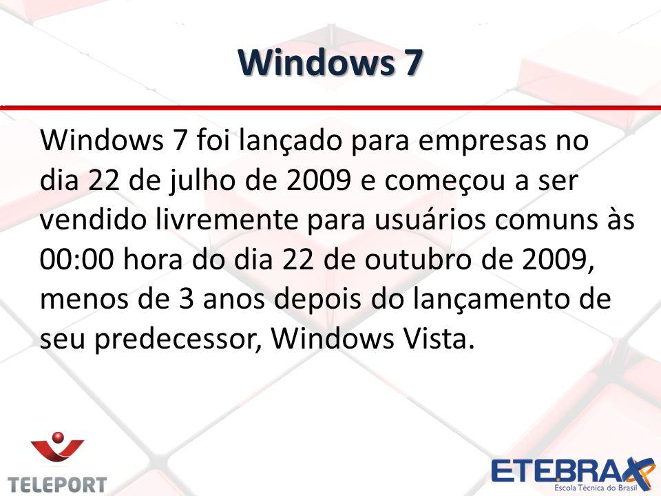 Windows 7 Windows 7 foi lançado para empresas no dia 22 de julho de 2009 e começou a ser vendido livremente para usuários comuns às 00:00 hora do dia