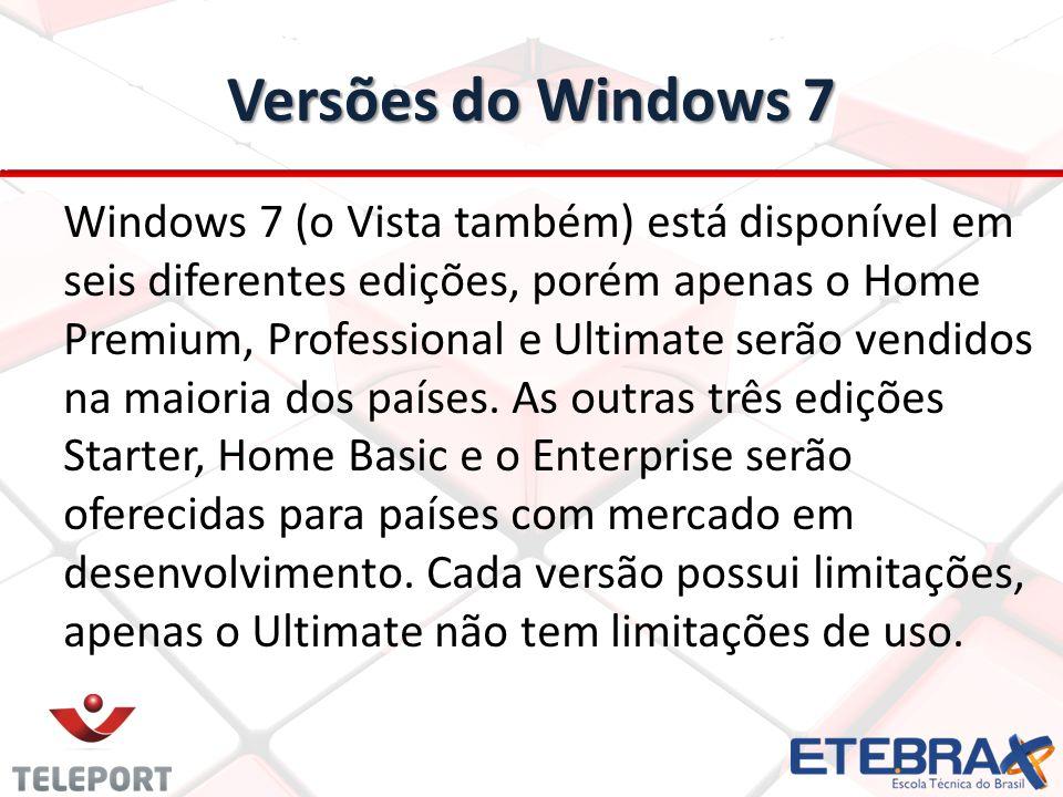 Versões do Windows 7 Windows 7 (o Vista também) está disponível em seis diferentes edições, porém apenas o Home Premium, Professional e Ultimate serão