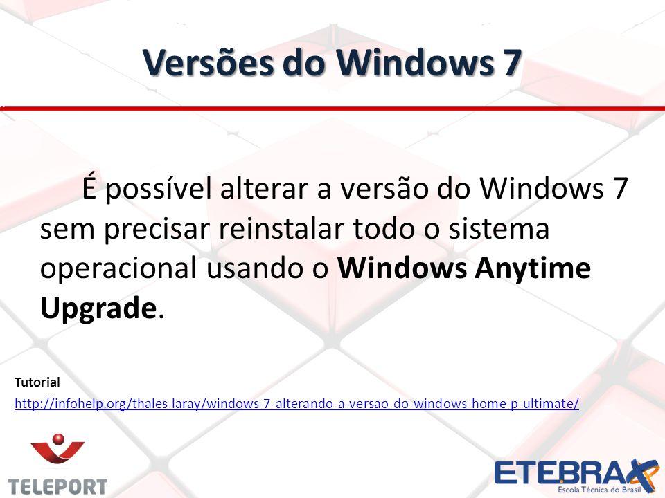 Versões do Windows 7 É possível alterar a versão do Windows 7 sem precisar reinstalar todo o sistema operacional usando o Windows Anytime Upgrade. Tut