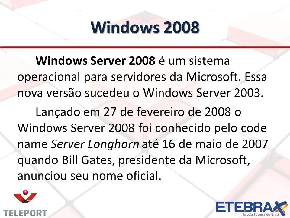 Windows 2008 Windows Server 2008 é um sistema operacional para servidores da Microsoft. Essa nova versão sucedeu o Windows Server 2003. Lançado em 27