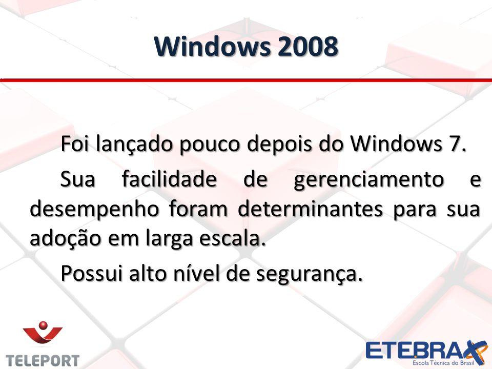 Windows 2008 Foi lançado pouco depois do Windows 7. Sua facilidade de gerenciamento e desempenho foram determinantes para sua adoção em larga escala.