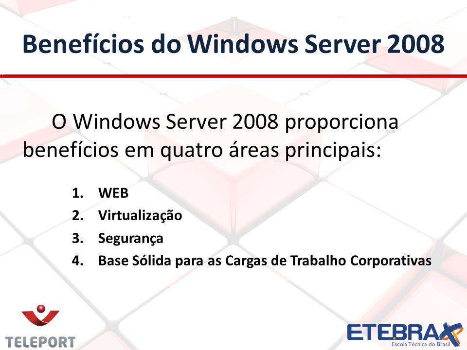 Benefícios do Windows Server 2008 O Windows Server 2008 proporciona benefícios em quatro áreas principais: 1.WEB 2.Virtualização 3.Segurança 4.Base Só