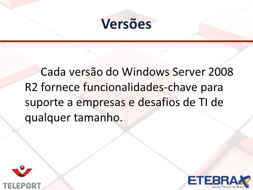 Versões Cada versão do Windows Server 2008 R2 fornece funcionalidades-chave para suporte a empresas e desafios de TI de qualquer tamanho.