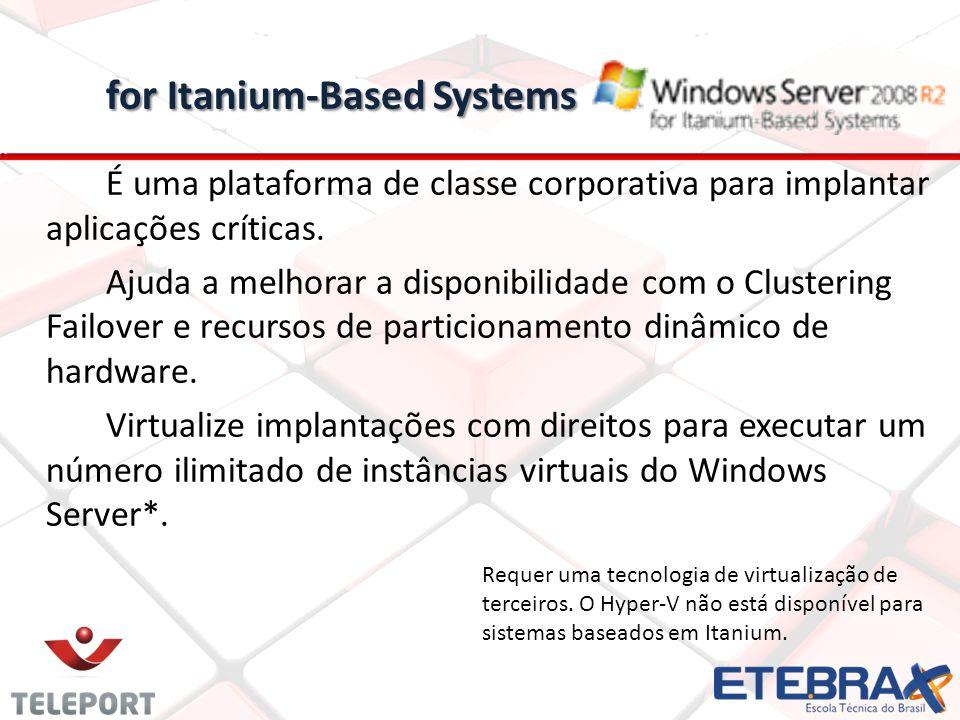 for Itanium-Based Systems for Itanium-Based Systems É uma plataforma de classe corporativa para implantar aplicações críticas. Ajuda a melhorar a disp