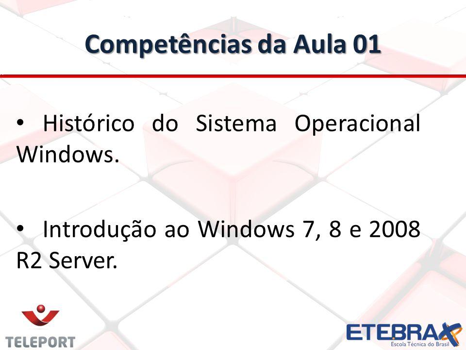 Competências da Aula 01 Histórico do Sistema Operacional Windows. Introdução ao Windows 7, 8 e 2008 R2 Server.