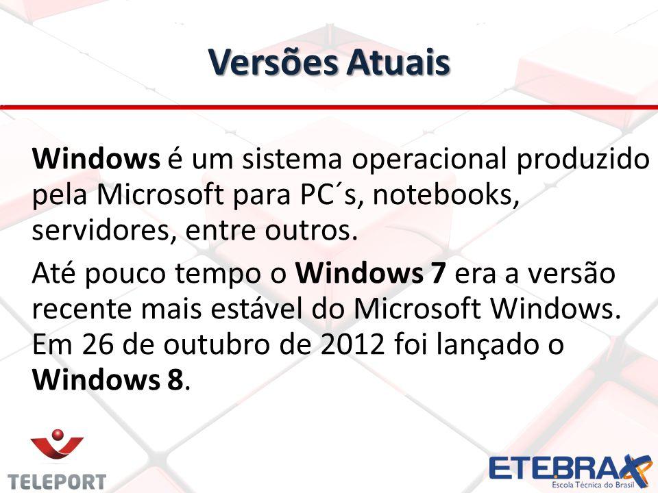 Versões Atuais Windows é um sistema operacional produzido pela Microsoft para PC´s, notebooks, servidores, entre outros. Até pouco tempo o Windows 7 e