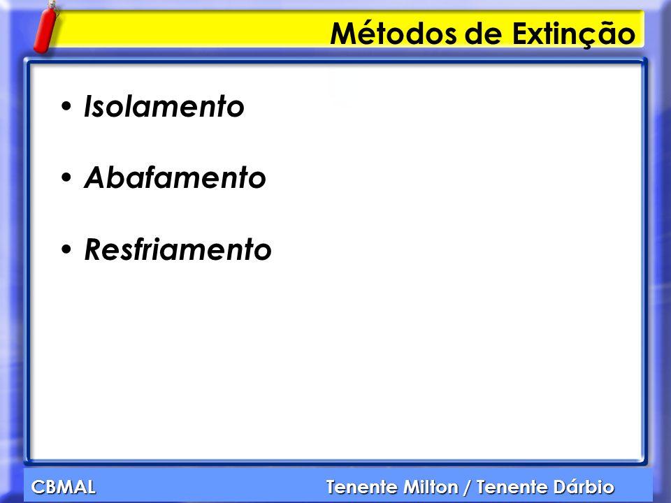 CBMAL Tenente Milton / Tenente Dárbio Métodos de Extinção Isolamento Abafamento Resfriamento
