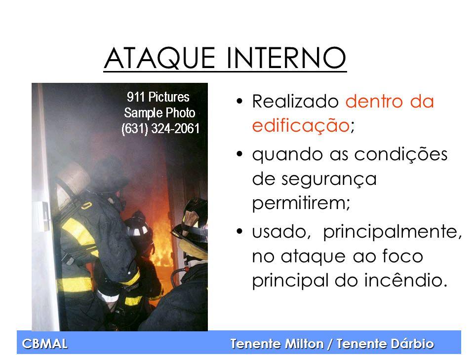 CBMAL Tenente Milton / Tenente Dárbio ATAQUE INTERNO Realizado dentro da edificação; quando as condições de segurança permitirem; usado, principalment