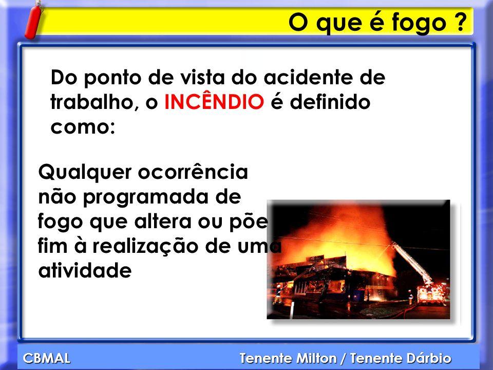 CBMAL Tenente Milton / Tenente Dárbio O que é fogo ? Do ponto de vista do acidente de trabalho, o INCÊNDIO é definido como: Qualquer ocorrência não pr