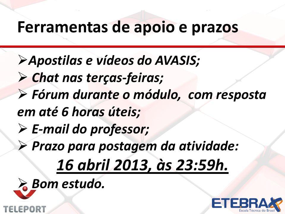 Ferramentas de apoio e prazos Apostilas e vídeos do AVASIS; Chat nas terças-feiras; Fórum durante o módulo, com resposta em até 6 horas úteis; E-mail