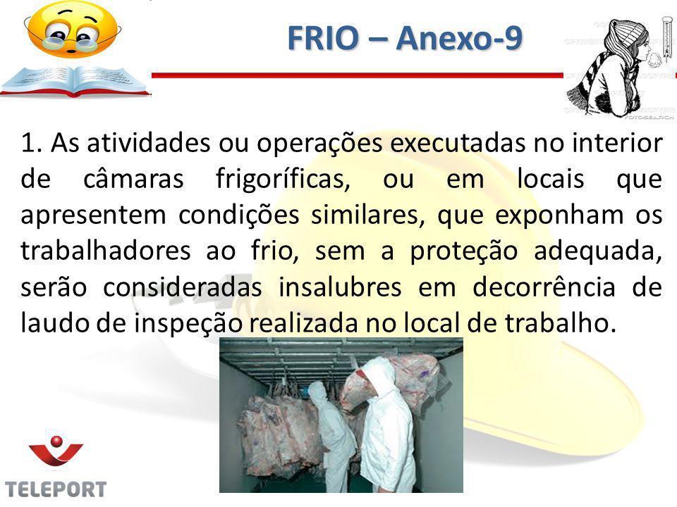1. As atividades ou operações executadas no interior de câmaras frigoríficas, ou em locais que apresentem condições similares, que exponham os trabalh