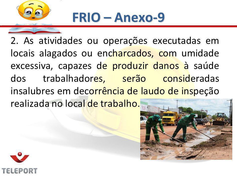 2. As atividades ou operações executadas em locais alagados ou encharcados, com umidade excessiva, capazes de produzir danos à saúde dos trabalhadores