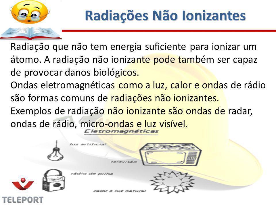 Radiação que não tem energia suficiente para ionizar um átomo. A radiação não ionizante pode também ser capaz de provocar danos biológicos. Ondas elet