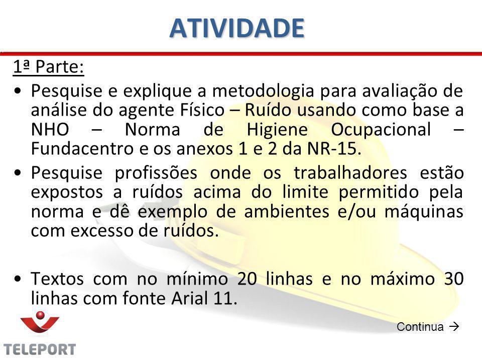 ATIVIDADE 1ª Parte: Pesquise e explique a metodologia para avaliação de análise do agente Físico – Ruído usando como base a NHO – Norma de Higiene Ocupacional – Fundacentro e os anexos 1 e 2 da NR-15.
