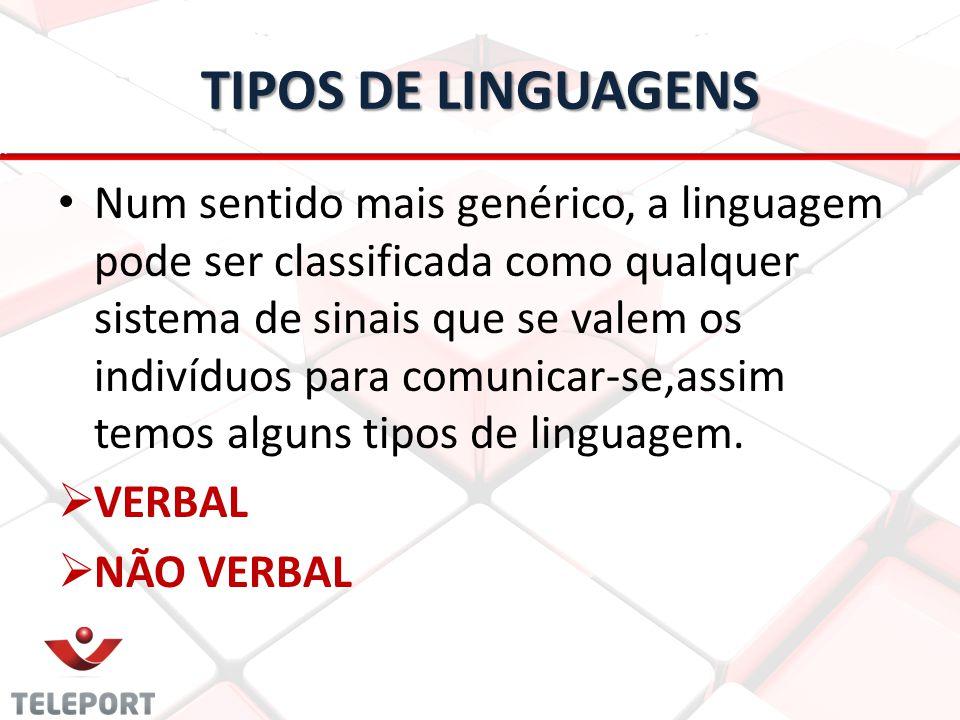 TIPOS DE LINGUAGENS Num sentido mais genérico, a linguagem pode ser classificada como qualquer sistema de sinais que se valem os indivíduos para comun
