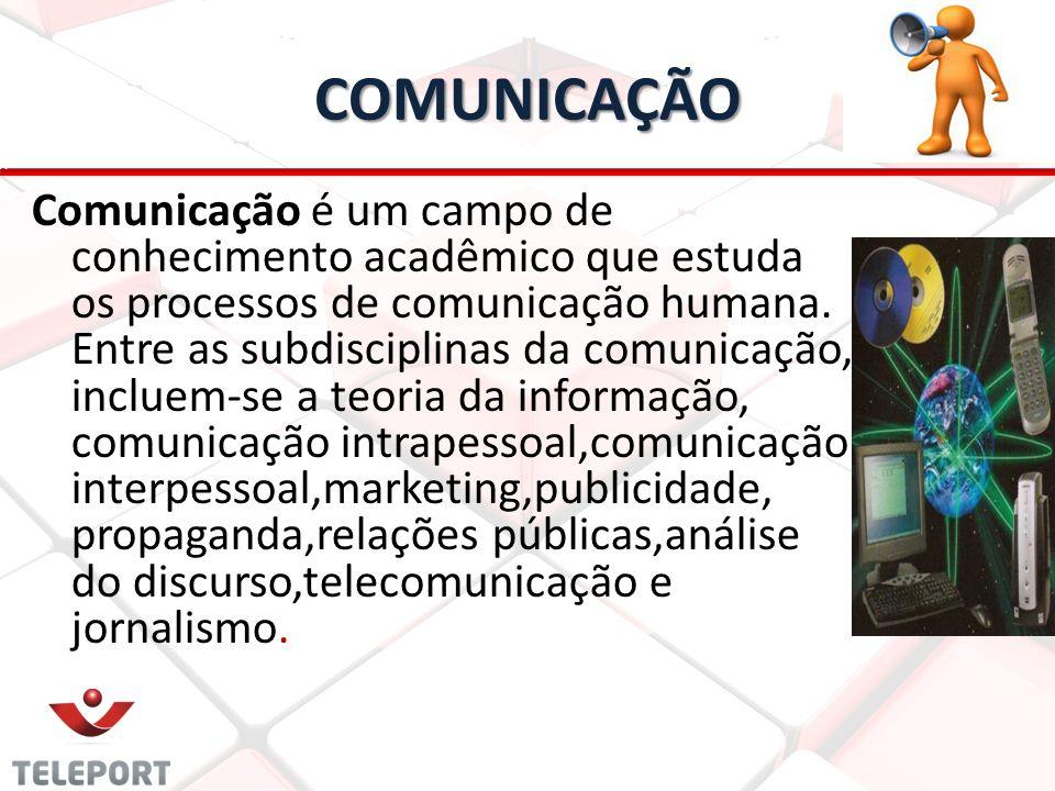 COMUNICAÇÃO Comunicação é um campo de conhecimento acadêmico que estuda os processos de comunicação humana. Entre as subdisciplinas da comunicação, in