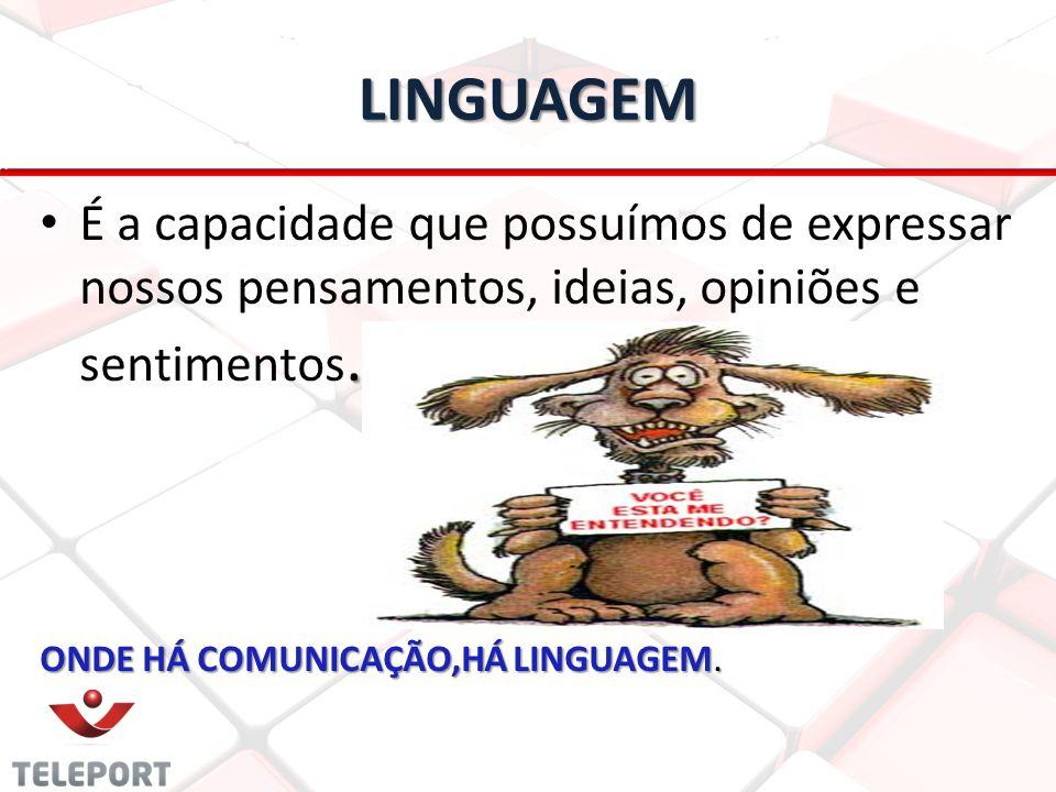 LINGUAGEM. É a capacidade que possuímos de expressar nossos pensamentos, ideias, opiniões e sentimentos. ONDE HÁ COMUNICAÇÃO,HÁ LINGUAGEM.