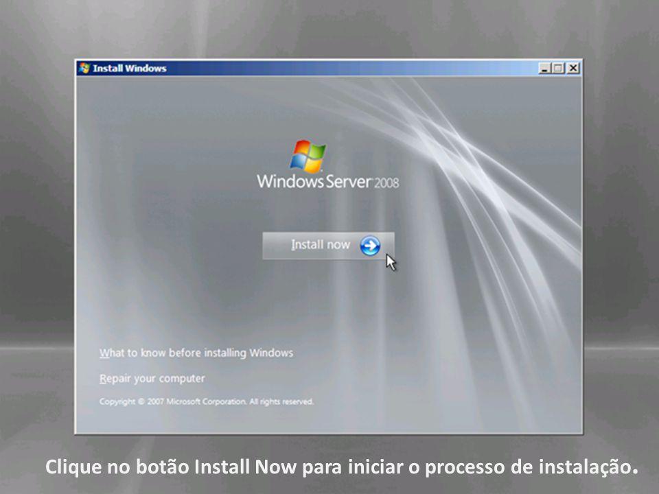 Clique no botão Install Now para iniciar o processo de instalação.