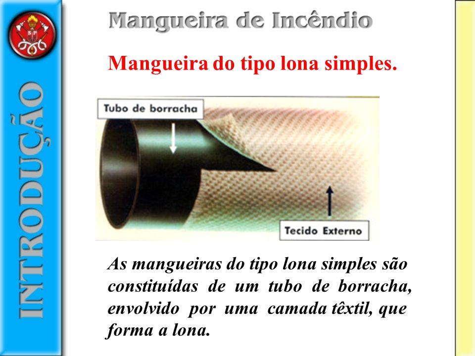 Mangueira do tipo lona simples. As mangueiras do tipo lona simples são constituídas de um tubo de borracha, envolvido por uma camada têxtil, que forma