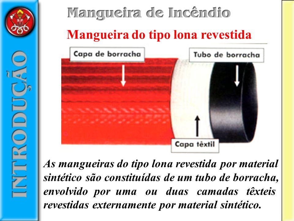 Mangueira do tipo lona revestida As mangueiras do tipo lona revestida por material sintético são constituídas de um tubo de borracha, envolvido por um