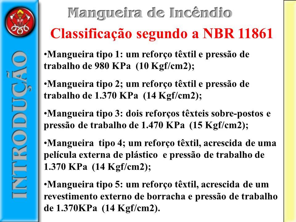 Classificação segundo a NBR 11861 Mangueira tipo 1: um reforço têxtil e pressão de trabalho de 980 KPa (10 Kgf/cm2); Mangueira tipo 2; um reforço têxt