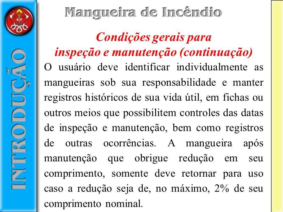 Condições gerais para inspeção e manutenção (continuação) O usuário deve identificar individualmente as mangueiras sob sua responsabilidade e manter r
