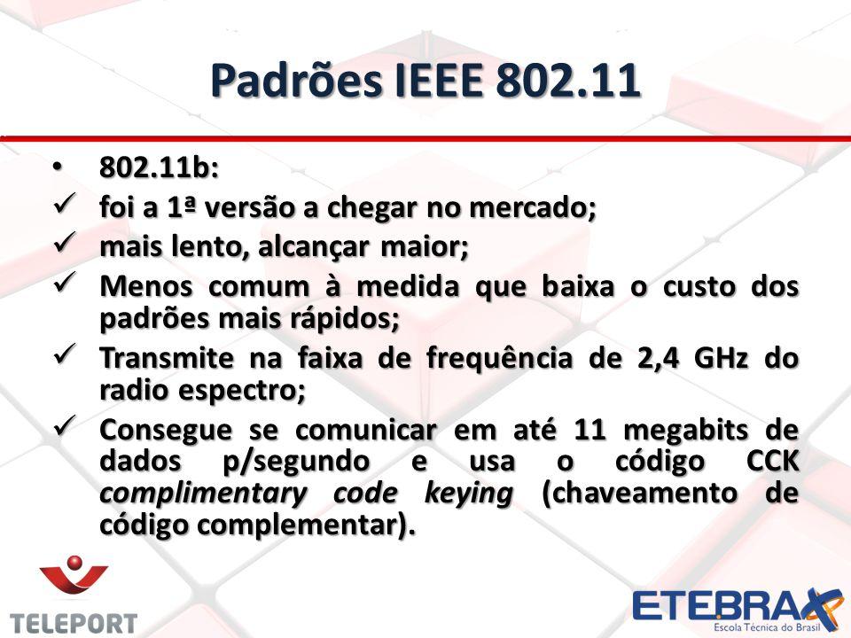 Padrões IEEE 802.11 802.11g 802.11g também transmite em 2,4 GHz; também transmite em 2,4 GHz; é mais rápido que o 802.11b; é mais rápido que o 802.11b; se comunica em até 54 megabits de dados p/segundo.