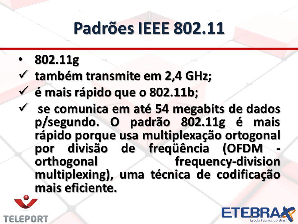 Padrões IEEE 802.11 802.11g 802.11g também transmite em 2,4 GHz; também transmite em 2,4 GHz; é mais rápido que o 802.11b; é mais rápido que o 802.11b